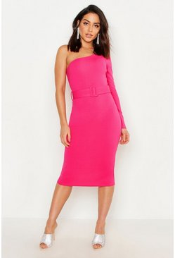 Hot pink One Shoulder Belted Midi Dress
