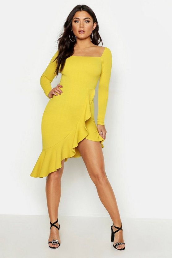 Womens Chartreuse Square Neck Ruffle Hem Midi Dress