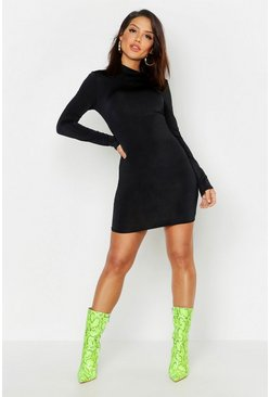 Womens Slinky Neon High Neck Bodycon Dress