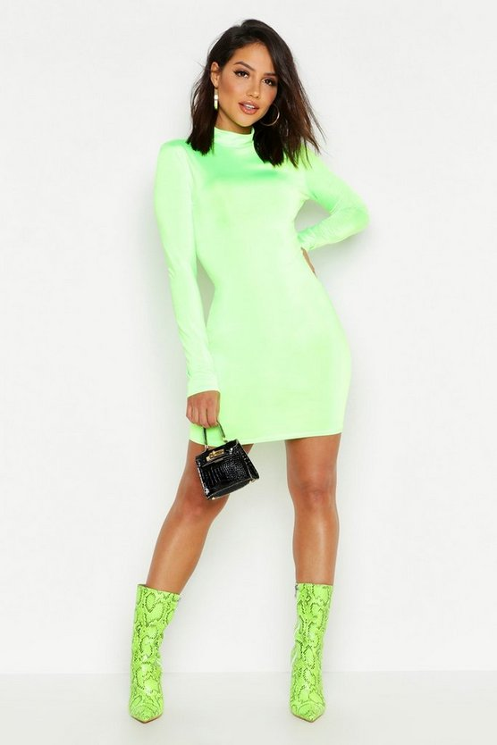 Slinky Neon High Neck Bodycon Dress