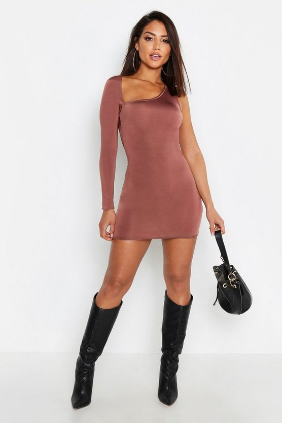 Womens Taupe Slash Neck Slinky One Shoulder Bodycon Dress