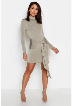 High Neck Skinny Tie Detail Bodycon Mini Dress, Olive, MUJER