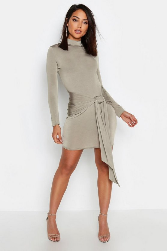 Womens Olive High Neck Skinny Tie Detail Bodycon Mini Dress