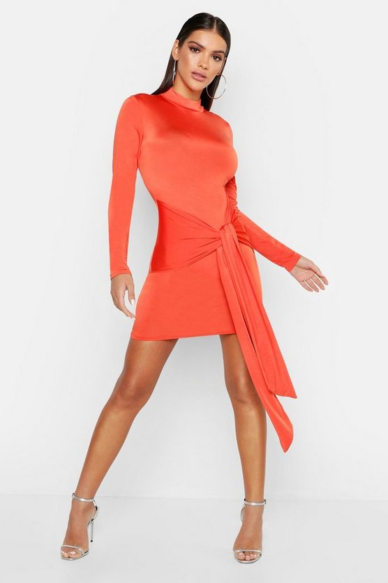 Womens Orange High Neck Skinny Tie Detail Bodycon Mini Dress