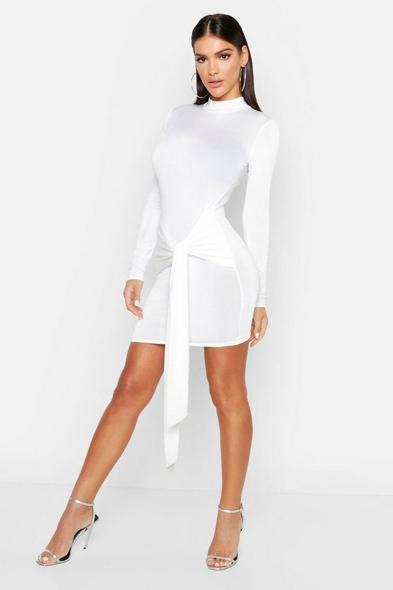 High Neck Skinny Tie Detail Bodycon Mini Dress, White, MUJER