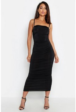 Black Strappy Square Neck Ruched Midaxi Dress
