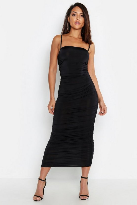 Womens Black Strappy Square Neck Ruched Midaxi Dress