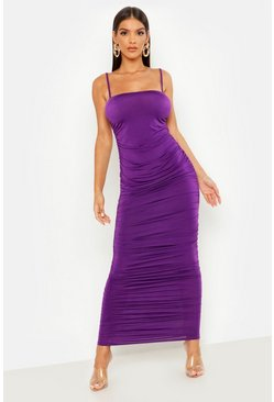 Womens Purple Strappy Square Neck Ruched Midaxi Dress