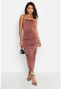 Strappy Square Neck Ruched Midaxi Dress, Taupe, Femme