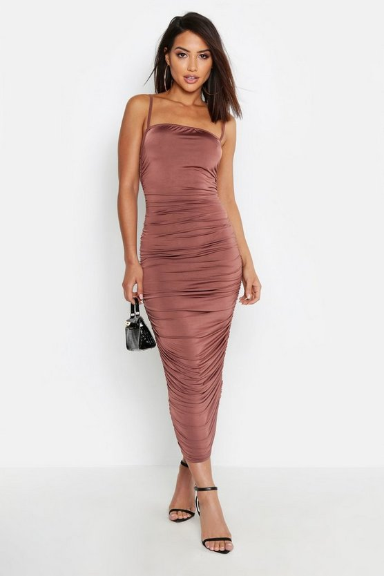 Womens Taupe Strappy Square Neck Ruched Midaxi Dress