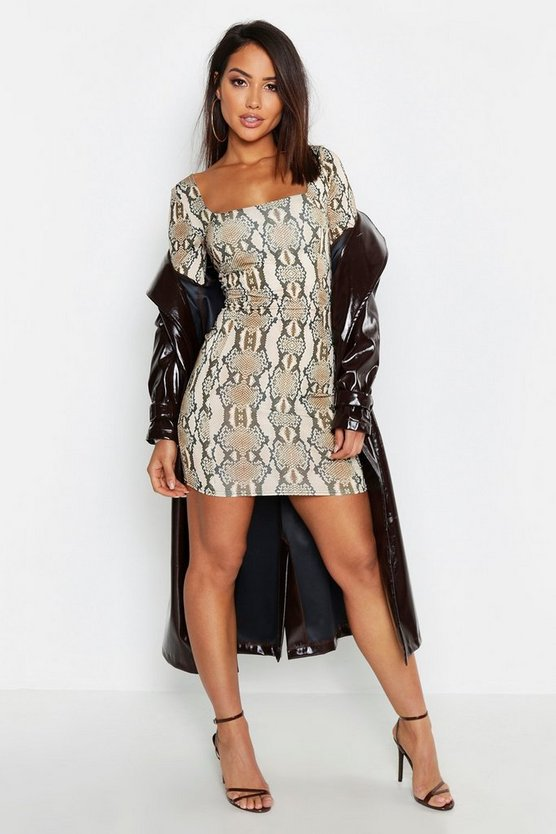Snake Print Slinky Seam Detail Bodycon Dress