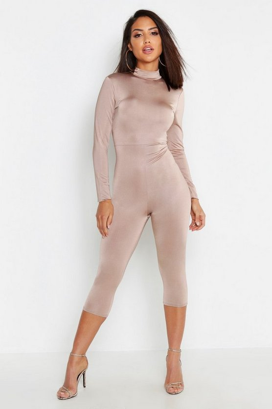 Slinky High Neck Long Sleeve Unitard, Sand, Donna