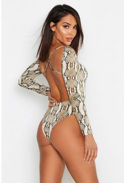 Womens Mocha Snake Print Square Neck Bodysuit