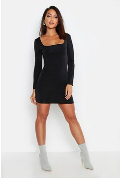 Slinky Seam Detail Long Sleeve Bodycon Dress, Black, ЖЕНСКОЕ
