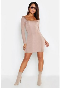 Slinky Seam Detail Long Sleeve Bodycon Dress, Sand