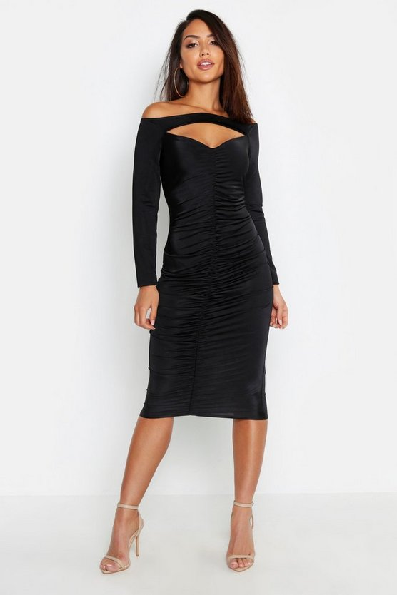 Womens Black Off The Shoulder Ruched Detail Midi Dress