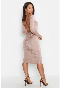 Womens Sand Slinky Cross Back Ruched Detail Midi Dress