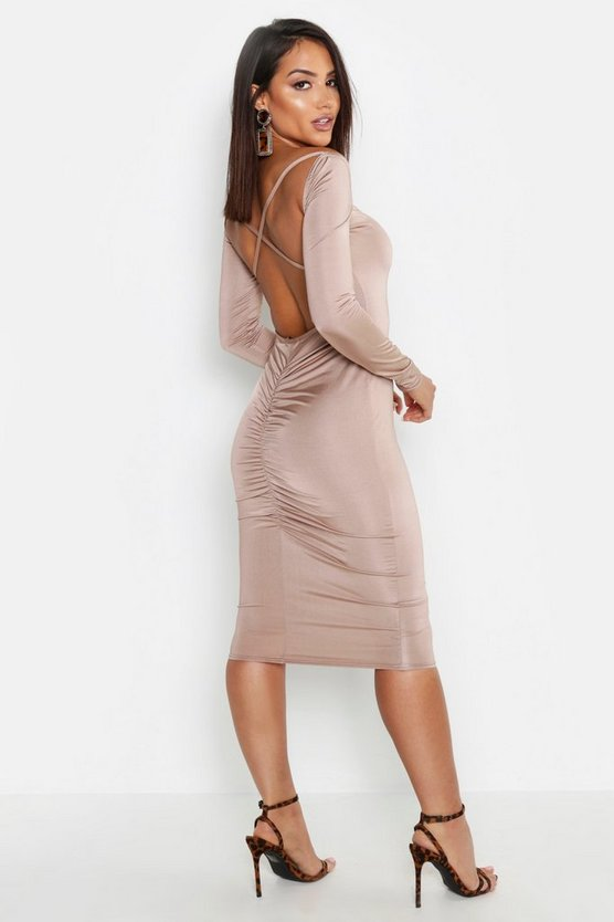 Slinky Cross Back Ruched Detail Midi Dress, Sand, Donna