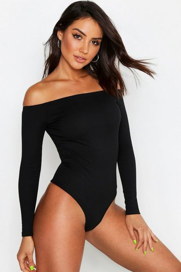 Womens Black Neon Rib Off The Shoulder Bodysuit