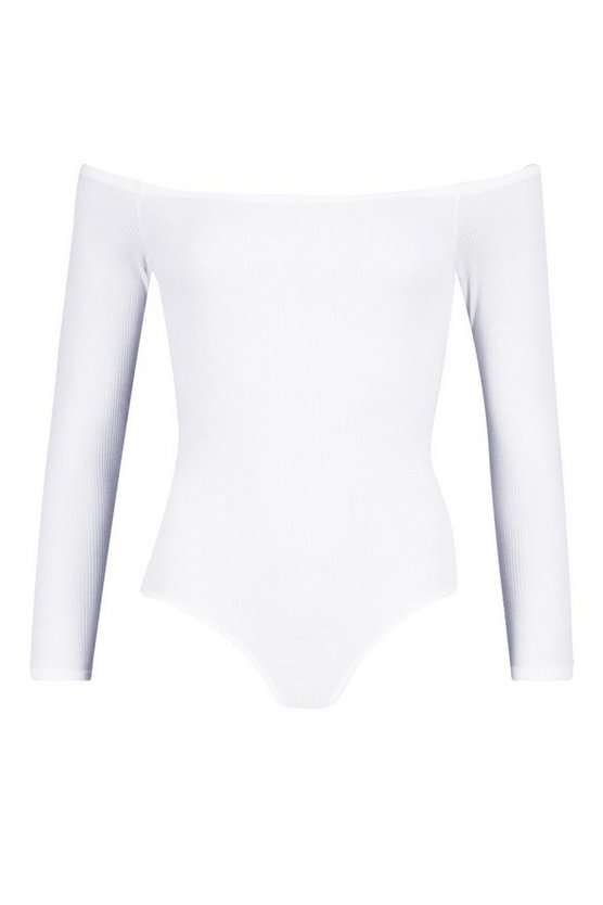Womens White Neon Rib Off The Shoulder Bodysuit