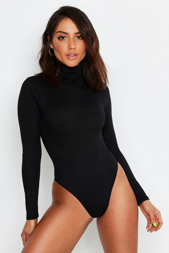 Womens Black Rib Neon Roll Neck Bodysuit