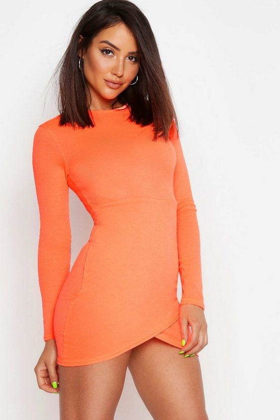 Womens Neon-orange Rib Neon Long Sleeve Wrap Bodycon Dress