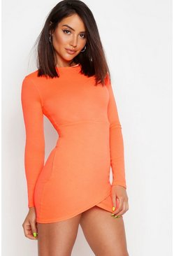 Rib Neon Long Sleeve Wrap Bodycon Dress, Neon-orange, Femme