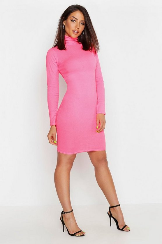 Womens Neon-pink Rib Neon High Neck Long Sleeve Bodycon Dress