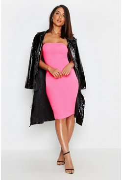 Womens Neon-pink Neon Bandeau Fitted Midi Dress