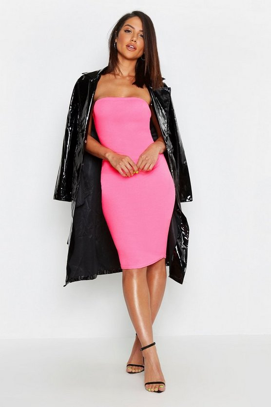 Neon Bandeau Fitted Midi Dress