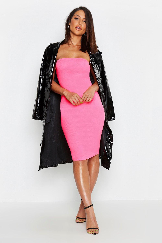 f6841eacc5eea Neon Bandeau Fitted Midi Dress | Boohoo