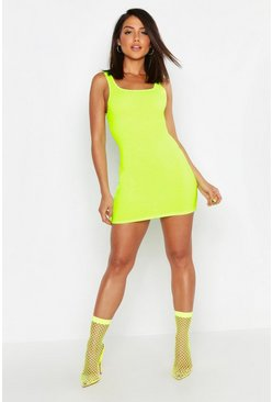 Womens Neon-yellow Strappy Neon Square Neck Bodycon Mini Dress