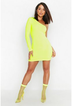 Neon Rib One Shoulder Bodycon dress, Neon-yellow, Donna