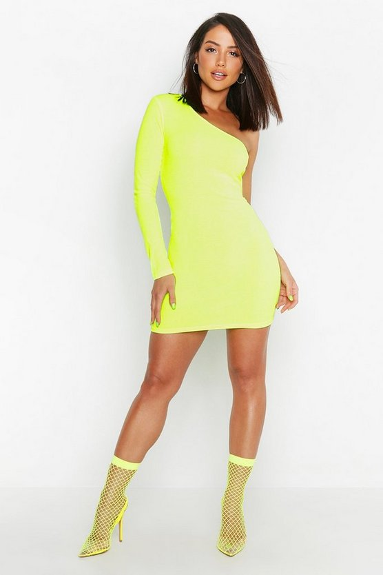 Neon Rib One Shoulder Bodycon dress