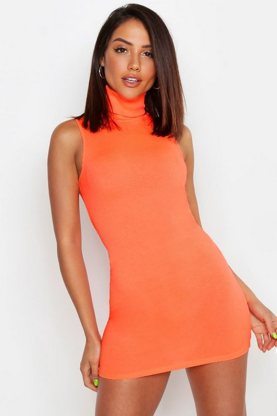 Neon-orange Neon Roll Neck Bodycon Mini