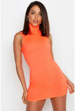 Neon Roll Neck Bodycon Mini, Neon-orange, Donna