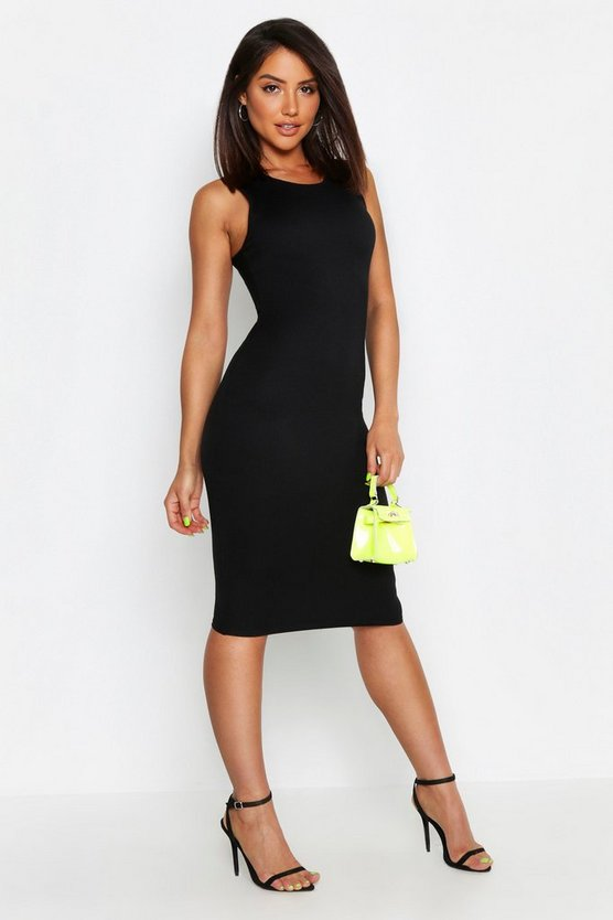 Womens Black Neon Rib Fitted Midi Dress