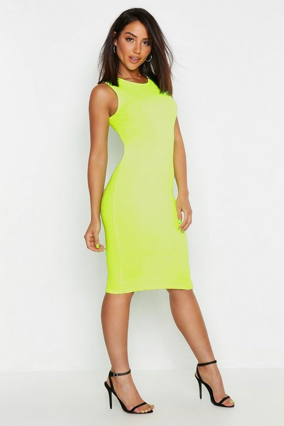 Womens Neon-yellow Neon Rib Fitted Midi Dress