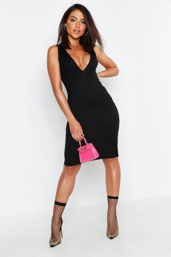 Womens Black Neon Rib Plunge Front Midi Dress