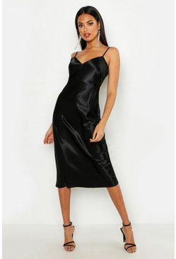 Satin Slip Midi Dress, Black, MUJER