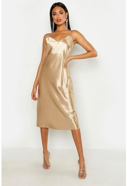 Womens Champagne Satin Slip Midi Dress