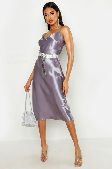 Womens Lilac Satin Slip Midi Dress