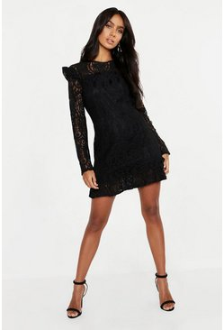 Black Lace Frill Detail Mini Dress