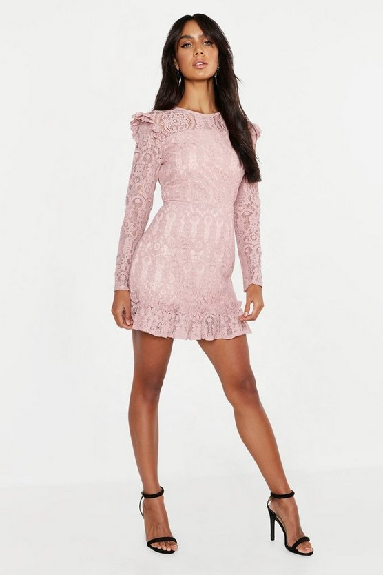 Womens Blush Lace Frill Detail Mini Dress