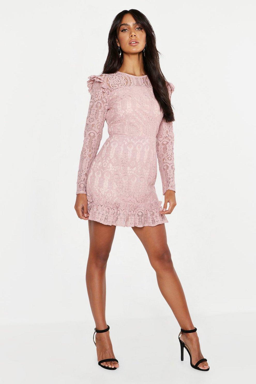 be732de25c Womens Blush Lace Frill Detail Mini Dress