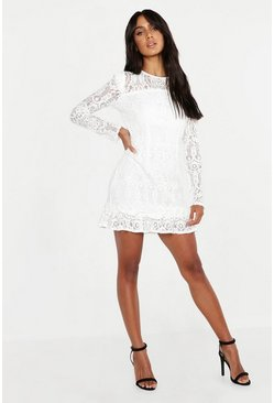 Lace Frill Detail Mini Dress, Ivory, FEMMES