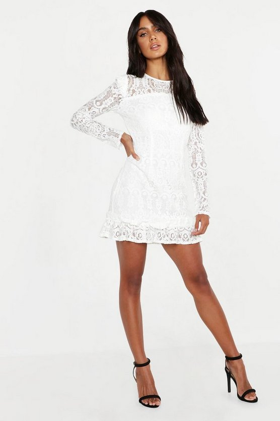 Lace Frill Detail Mini Dress, Ivory, DAMEN