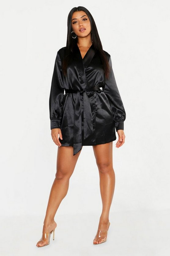 Satin Button Detail Wrap Mini Dress