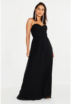 Chiffon Bandeau Sweetheart Maxi Bridesmaid Dress, Black