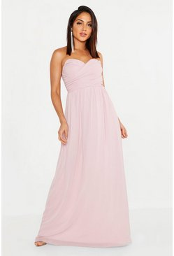 Chiffon Bandeau Sweetheart Maxi Bridesmaid Dress, Blush
